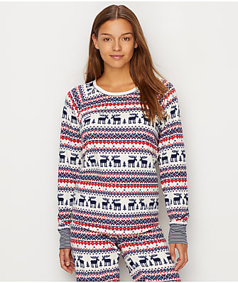 P.J. Salvage Winter Escape Fleece Fair Isle Pajama Top