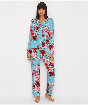 P.J. Salvage Floral Knit Sateen Pajama Set