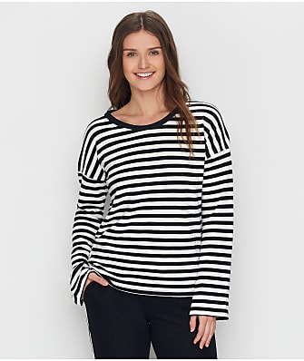 P.J. Salvage Black Out Stripe Knit Lounge Top