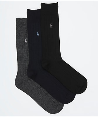 Polo Ralph Lauren Men's Merino Wool Ribbed Dress Socks 3-Pack