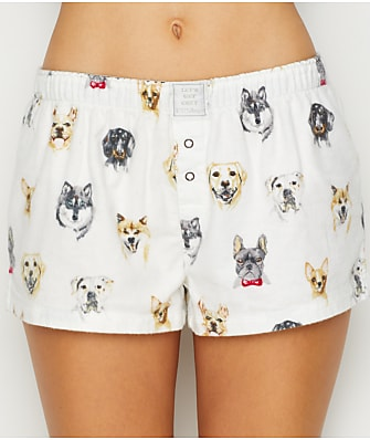 P.J. Salvage Think Pawsitive Flannel Sleep Shorts