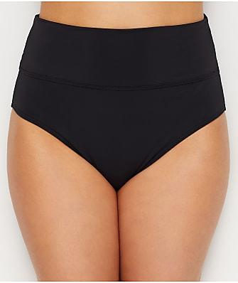 Sunsets Black Fold-Over High-Waist Bikini Bottom