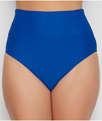 Sunsets Imperial Blue Fold-Over High-Waist Bikini Bottom