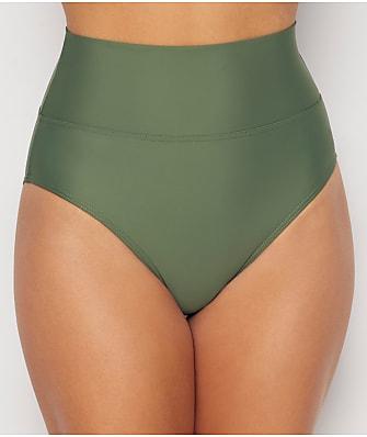 Sunsets Olive Fold-Over High-Waist Bikini Bottom
