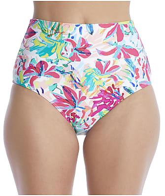 Sunsets Painterly Floral Fold-Over High-Waist Bikini Bottom