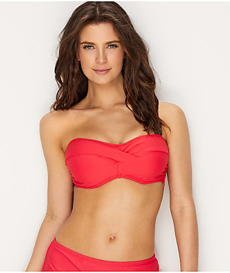 Sunsets Lovers Coral Iconic Twist Bandeau Bikini Top E-H Cups