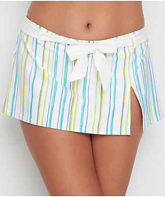 Swim Systems Oasis Stripe Belted Skirted Bikini Bottom