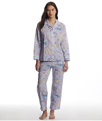 The Cat's Pajamas Lavender Paisley Luxe Pima Woven Pajama Set