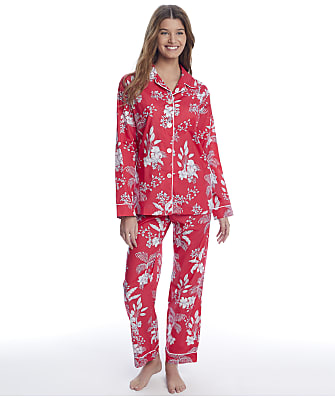The Cat's Pajamas Red Palms Luxe Pima Woven Pajama Set