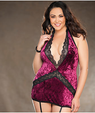 Shirley of Hollywood Plus Size Velvet Garter Chemise Set