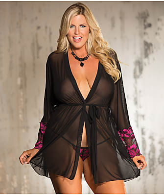 Shirley of Hollywood Plus Size Two Tone Lace Robe Set