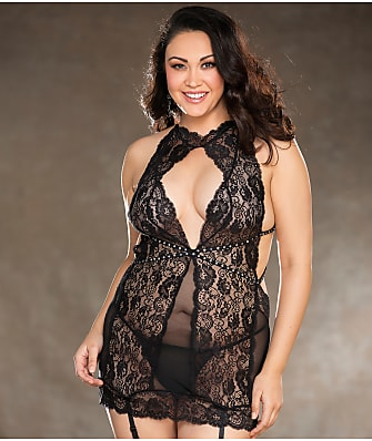 Shirley of Hollywood Plus Size Keyhole Rhinestone Chemise Set