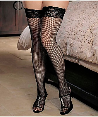 Shirley of Hollywood Plus Size Fishnet Back Seam Thigh High