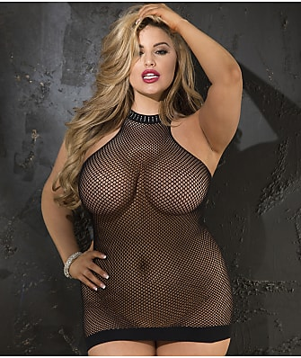 Shirley of Hollywood Plus Size Halter Fishnet Chemise