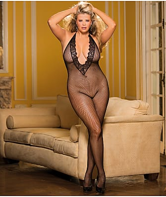 Shirley of Hollywood Plus Size Deep Plunge Crotchless Bodystocking