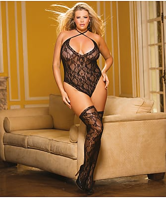 Shirley of Hollywood Plus Size Lace Teddy & Thigh High Set