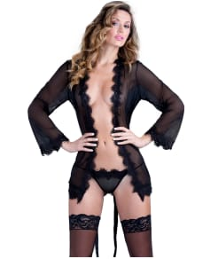Oh La La Cheri Eyelash Lace Robe with Matching G-String
