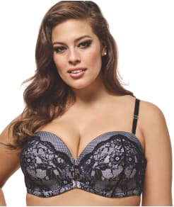 Ashley Graham Dreamer Lace Front-Close Convertible Bra