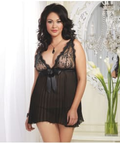 Dreamgirl Pleated Babydoll Set Plus Size