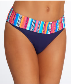 Anne Cole Signature Triangle Stripe Fold-Over Bikini Bottom