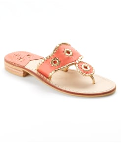Jack Rogers Nantucket Gold Leather Sandals