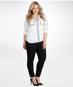 Lyssé Medium Control Stretch Twill Cigarette Pants Plus Size