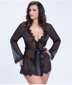 Oh La La Cheri Eyelash Lace Robe Set Plus Size