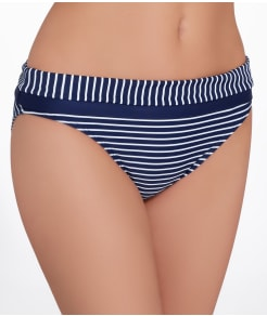 Panache Britt Stripe Fold-Over Bikini Swim Bottom