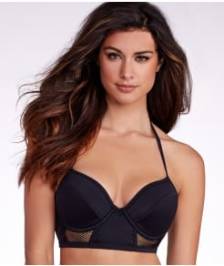 Pour Moi Mixed Mesh Longline Halter Swim Top