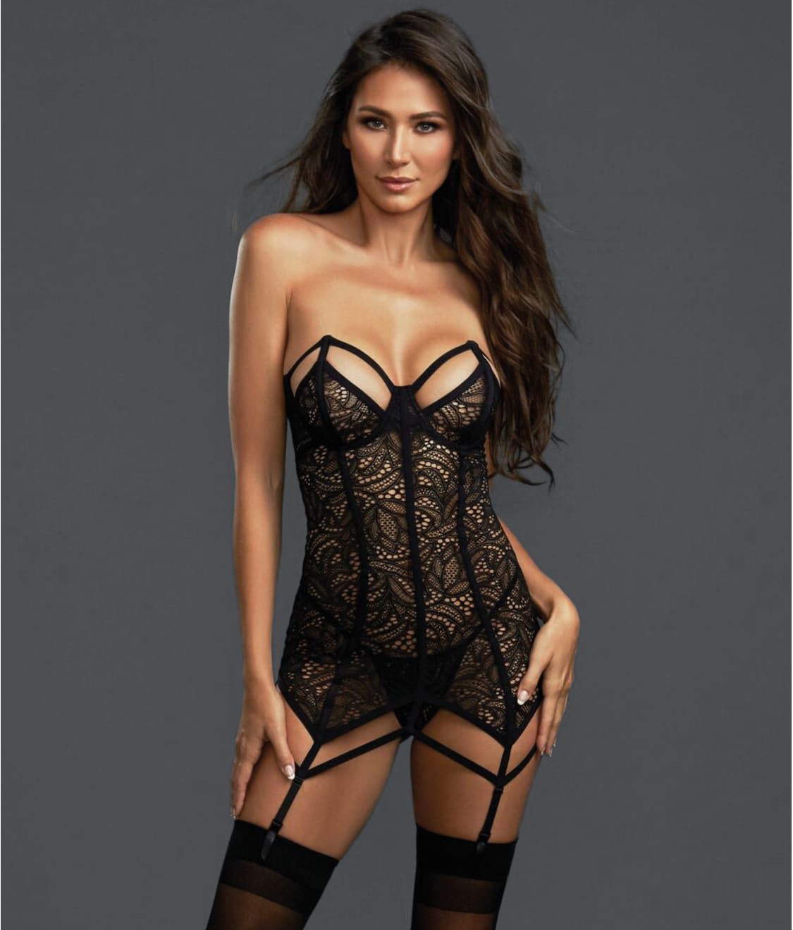 Detachable Garter Straps and Matching Brief Set OBSESSIVE 859 Luxury Corset