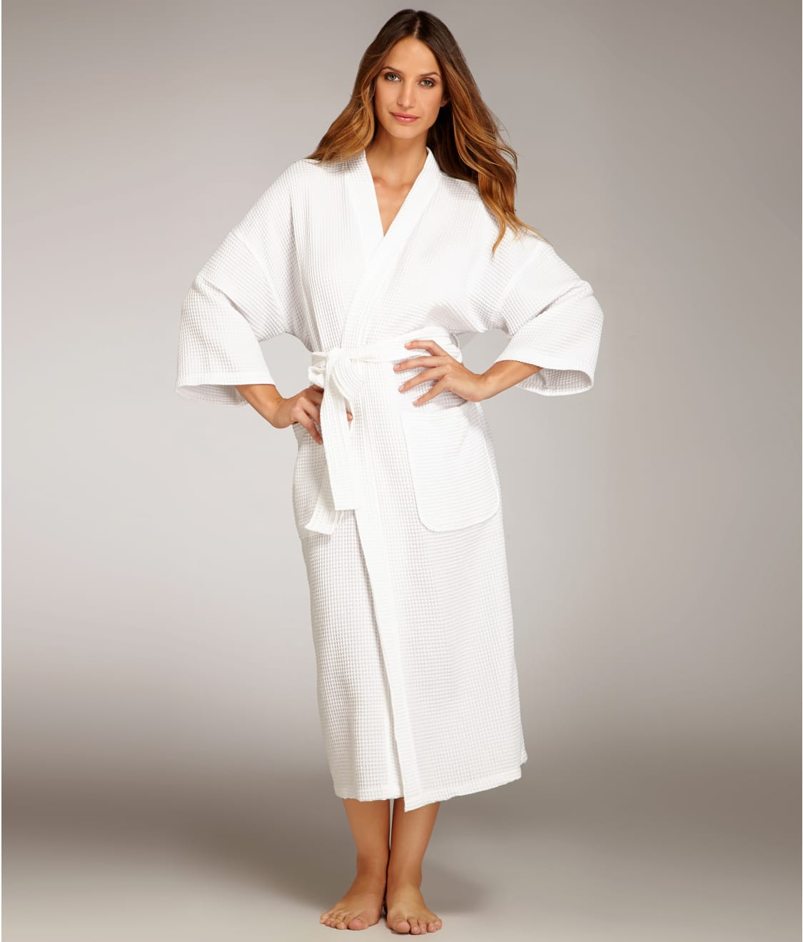 Monarch Cypress Waffle Cotton 3 4 Sleeve Robe e8be826bf