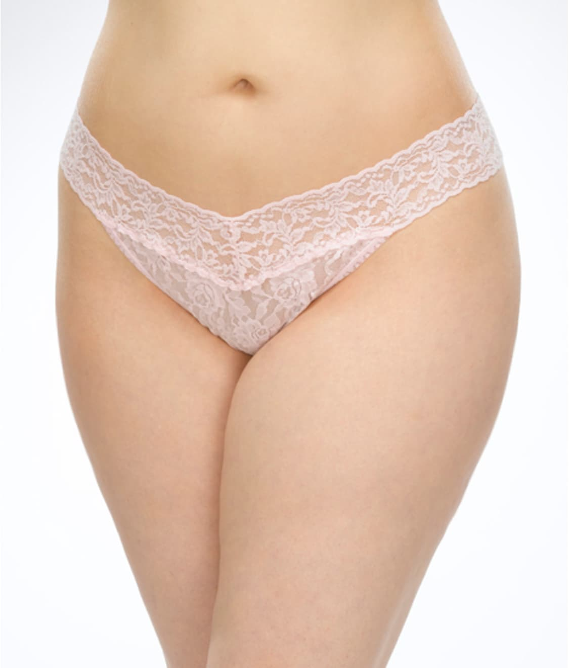 25b0bb054 See Plus Size Signature Lace Original Rise Thong in Bliss Pink