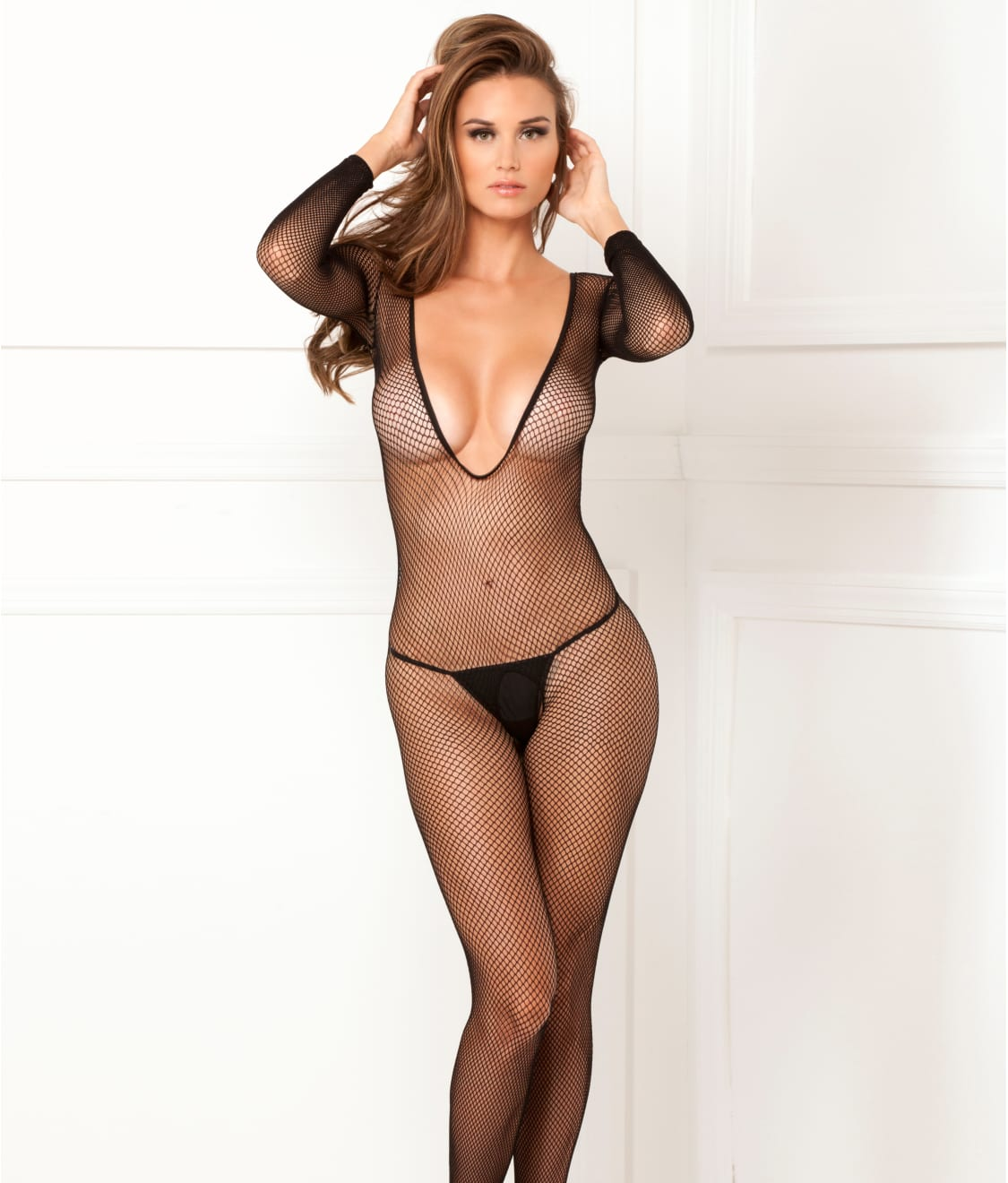 lovely luster cute cheap aesthetic appearance Plunging Fishnet Bodystocking