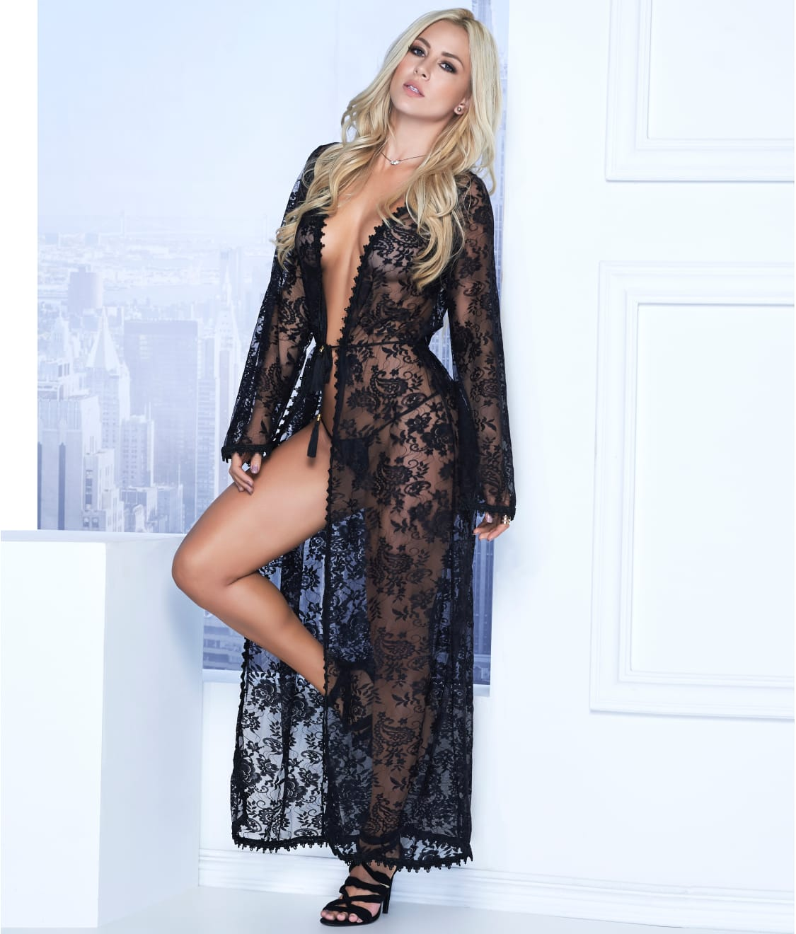 Fashion look from january 2013 featuring see through dress mesh - Mapal Long Lace Robe G String Set