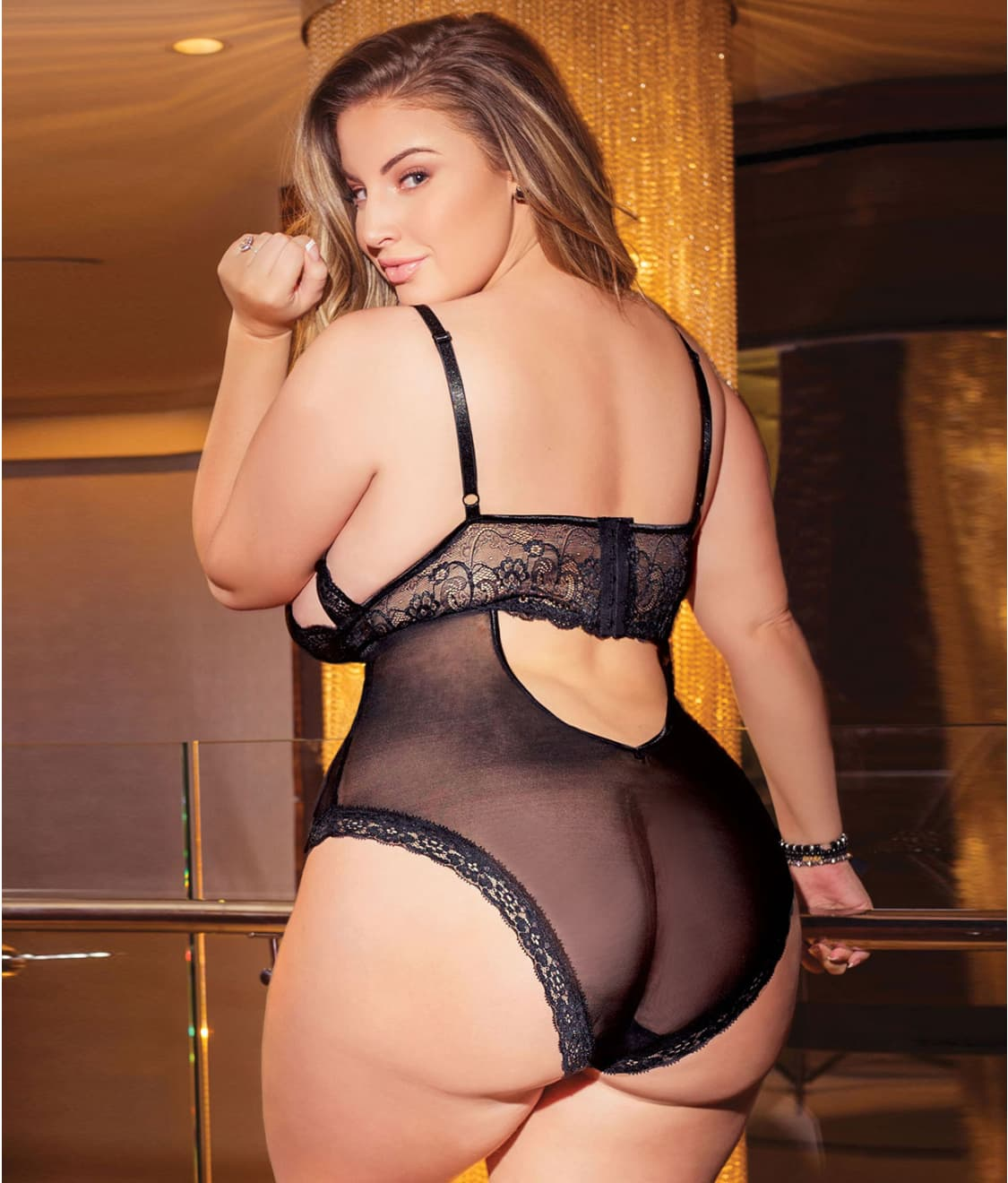 924338dda3b Coquette Plus Size Let s Play Tie-Up Crotchless Teddy