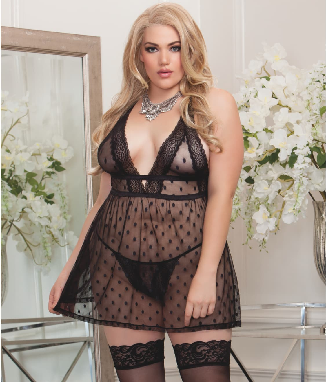 66bf2d9a0ae iCollection Plus Size Dot Mesh And Lace Babydoll Set