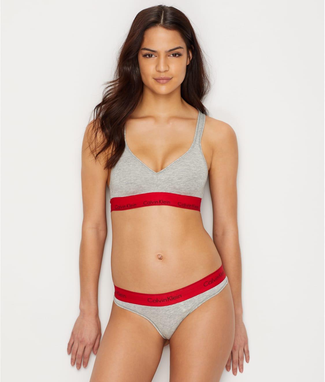 e3d01abd700 See Modern Cotton Padded Bralette in Grey Heather   Red. Calvin Klein  ...