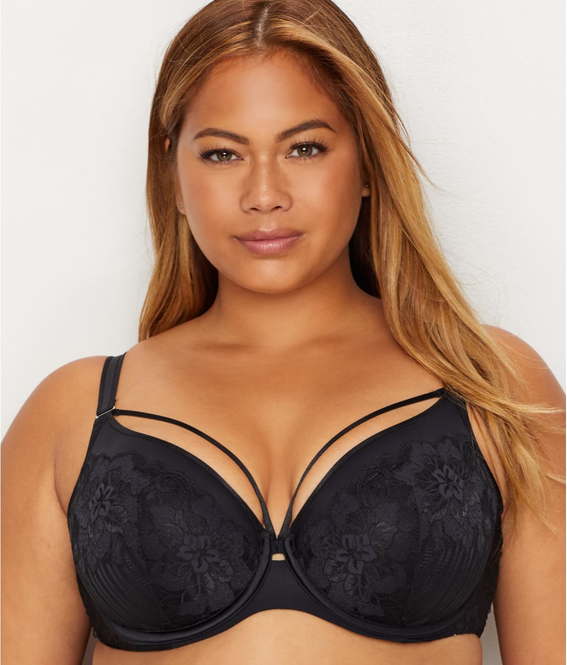 2c4c41ff7ac Curvy Couture Tulip Lace Convertible Push-Up Cage Bra
