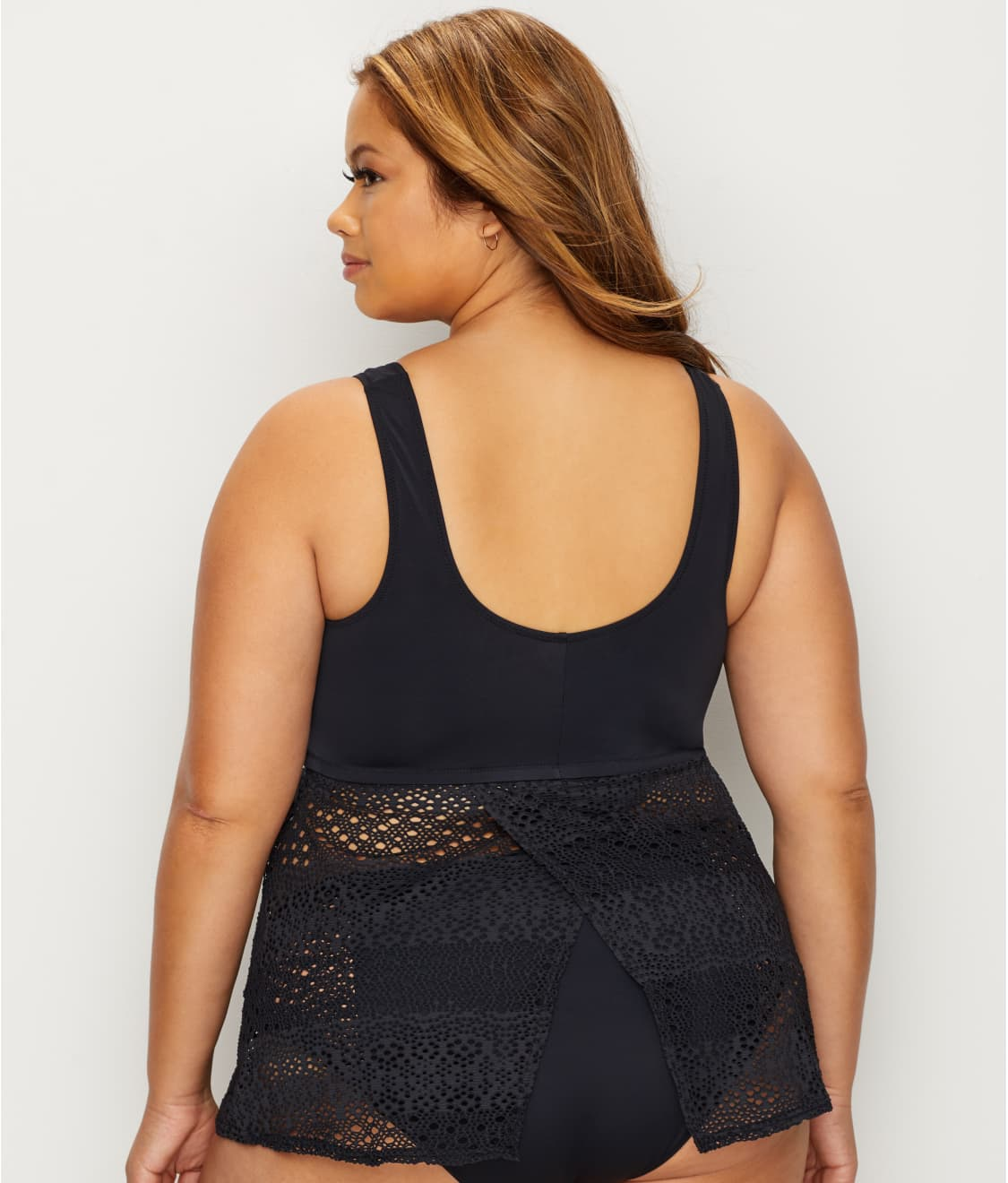 1a03ca8496 See Plus Size Indie Wire-Free Layering Tankini Top in Black