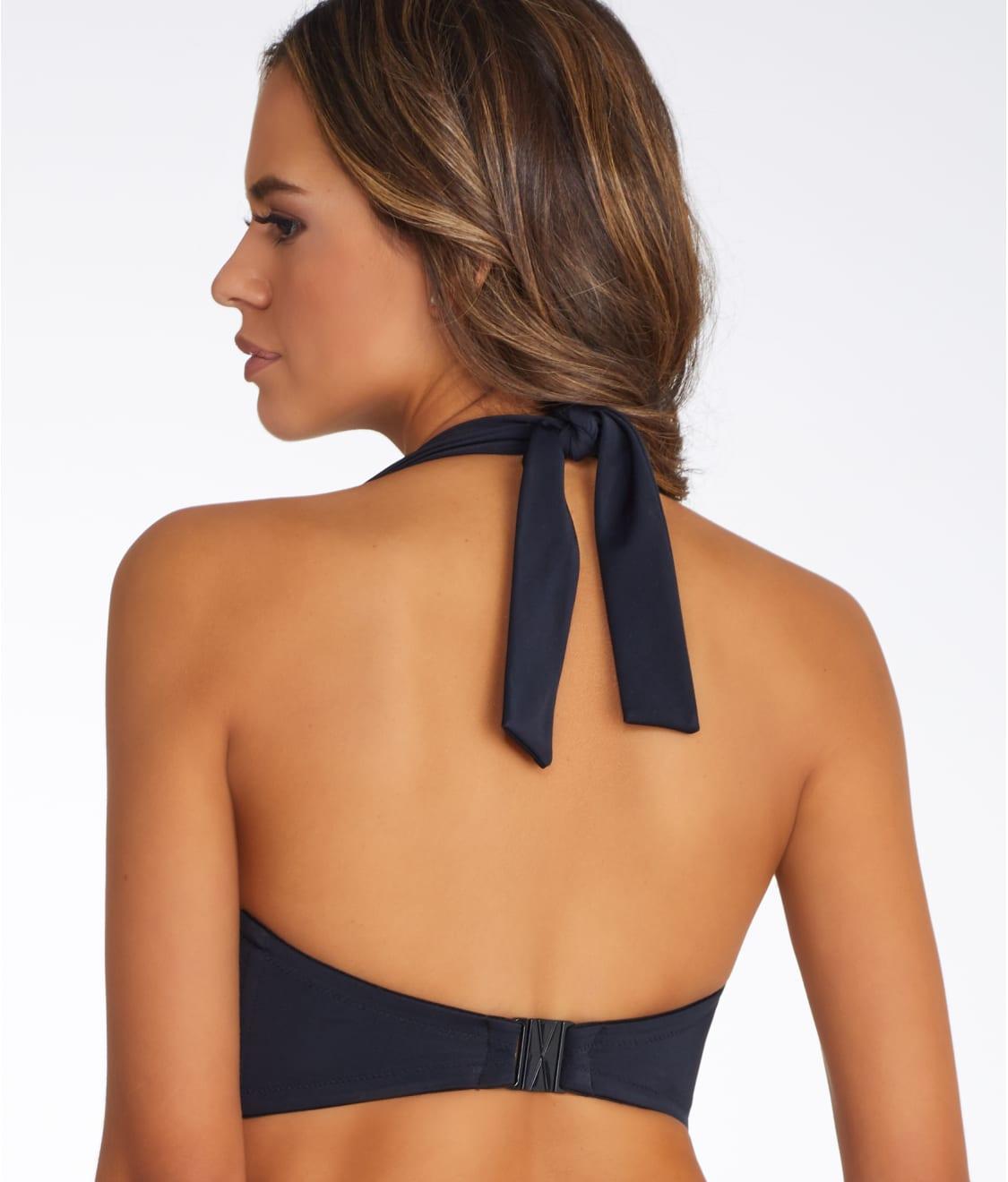 b6e67a561631d See Deco Solid Multi-Way Bandeau Bikini Top in Black