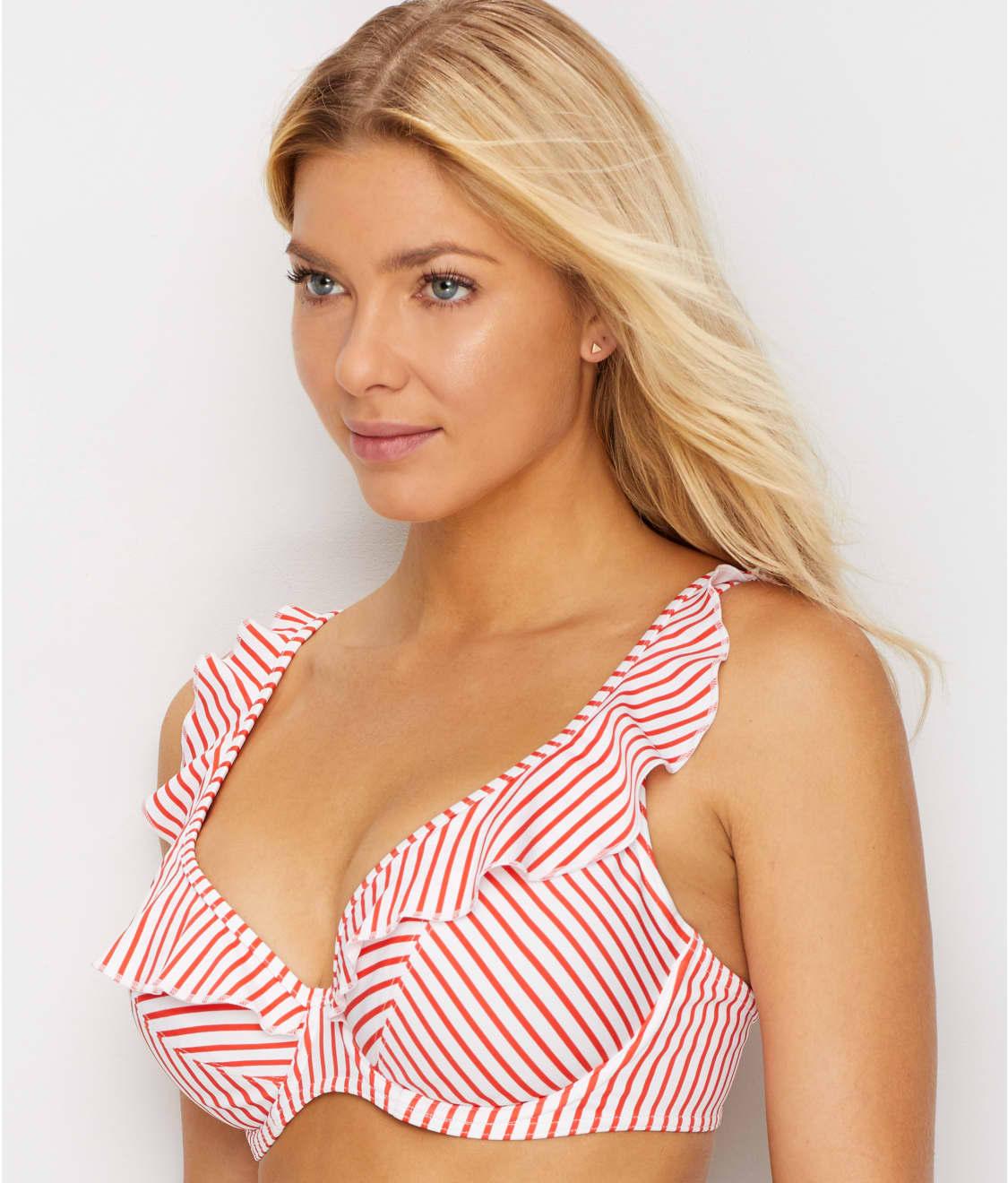 316e4ced526 See Totally Stripe Ruffled Bikini Top in Flame