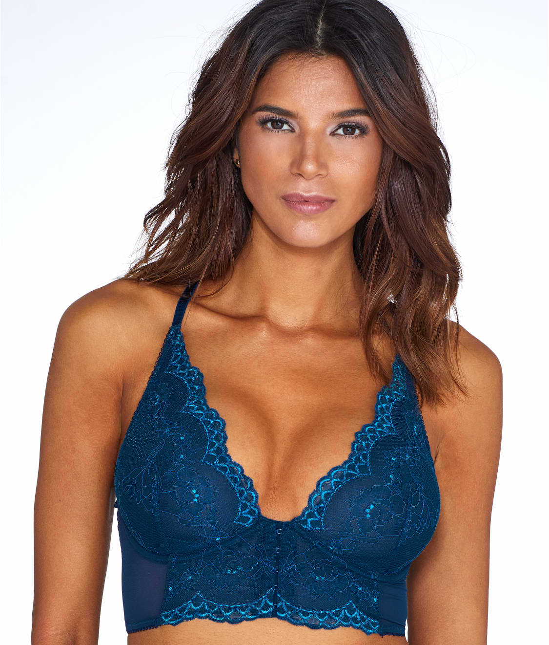 00887b1e37 See Longline Front-Close Plunge Bra in Deep Teal