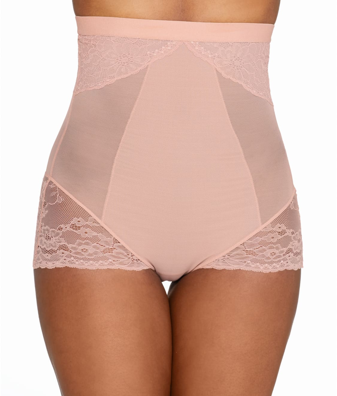 See Lace Collection High Waist Brief In Vintage Rose