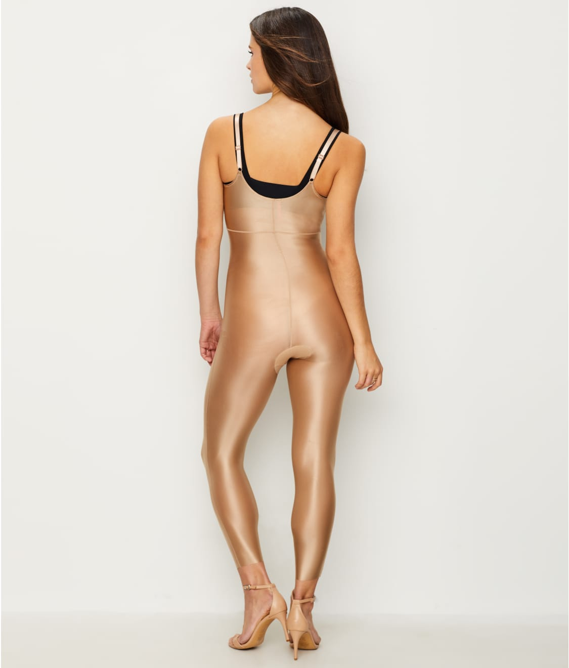 5e8ab4b6163076 See Suit Your Fancy Medium Control Open-Bust Catsuit in Broadway Beige
