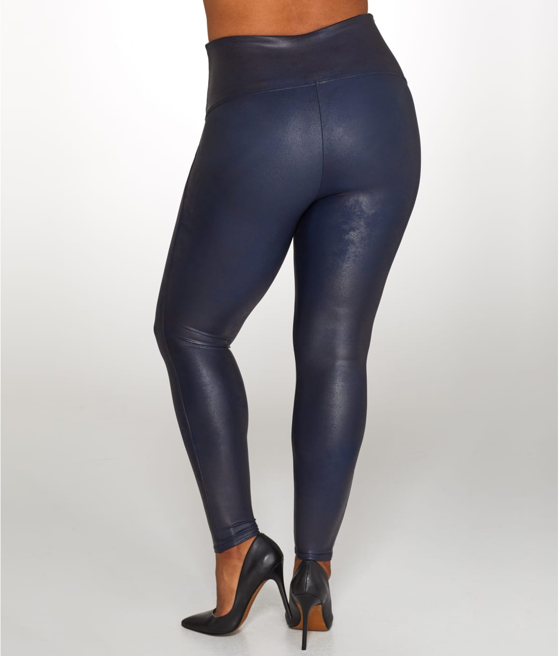 22d5d31d103 See Plus Size Ready-to-Wow Faux Leather Leggings in Night Navy