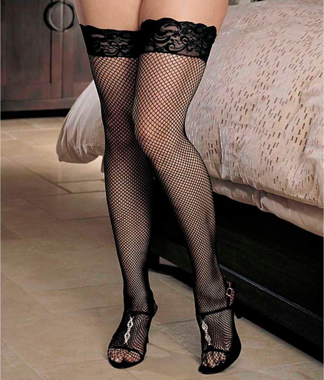 75b6c1dac72 Shirley of Hollywood Plus Size Fishnet Back Seam Thigh High